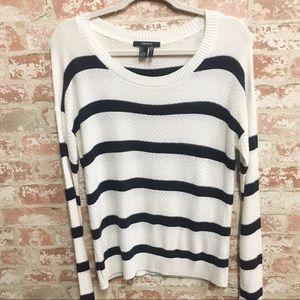F21 White & Navy Striped Scoop Neck Sweater